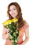 Happy woman holding bunch of roses Stock Photo