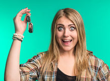Happy woman holding car keys Royalty Free Stock Image