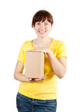Happy  woman holding cardboard box Stock Photography
