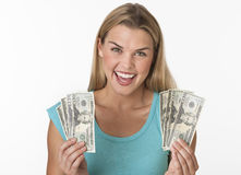 Happy Woman Holding Cash Royalty Free Stock Image