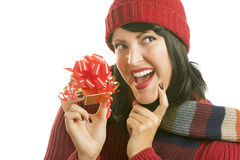 Happy Woman Holding Christmas Gift on White Stock Images