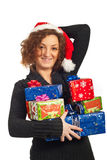 Happy woman holding Christmas presents Royalty Free Stock Photo