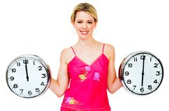 Happy woman holding clocks Stock Image