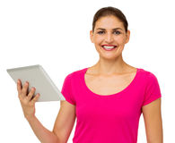 Happy Woman Holding Digital Tablet Stock Photo