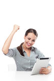 Happy woman holding digital tablet Royalty Free Stock Photography
