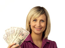 Happy woman holding dollars Royalty Free Stock Photos