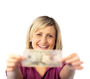 Happy woman holding dollars Royalty Free Stock Images