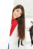 Happy woman holding empty banner. Stock Photography
