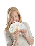 Happy Woman Holding Fanned Euro Money Stock Photos
