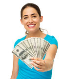 Happy Woman Holding Fanned Us Banknotes Stock Images