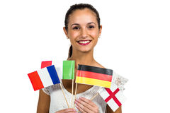 Happy woman holding flags Stock Image