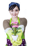 Happy Woman Holding Flowers Royalty Free Stock Images