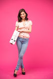Happy woman holding folders Royalty Free Stock Images
