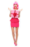 Happy woman holding gift Royalty Free Stock Images