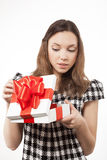 Happy woman and gift box Royalty Free Stock Photography