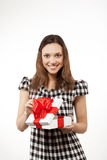 Happy woman and gift box Royalty Free Stock Photos