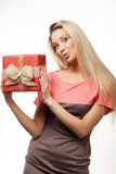 Happy woman and gift box Stock Photos
