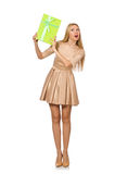 Happy woman holding giftbox Royalty Free Stock Images
