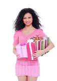 Happy woman holding gifts Stock Images