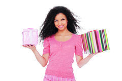 Happy woman holding gifts Royalty Free Stock Photos