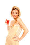 Happy woman holding a glass of champagne Royalty Free Stock Photography