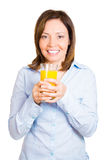 Happy woman holding glass of juice Stock Photos