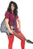 Happy woman holding guitar Stock Image