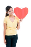 Happy Woman Holding Heart Sign Royalty Free Stock Photography