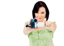 Happy woman holding home video camera Royalty Free Stock Photos
