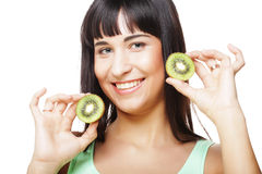 Happy woman holding kiwi Royalty Free Stock Images