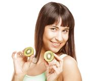 Happy woman holding kiwi Stock Image