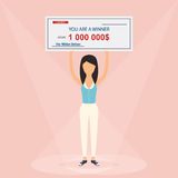 Happy woman holding large check of one million dollar in hands. Stock Photos