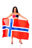 Happy woman holding a large transparent flag of Norway Stock Photography