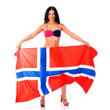 Happy woman holding a large transparent flag of Norway Royalty Free Stock Photography