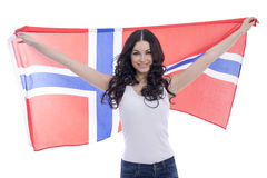 Happy woman holding a large transparent flag of Norway Stock Image