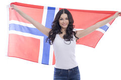 Happy woman holding a large transparent flag of Norway Stock Images