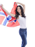 Happy woman holding a large transparent flag of Norway Royalty Free Stock Images