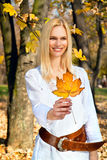 Happy woman holding  leaf  in the autumn park Royalty Free Stock Images