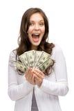 Happy woman holding money Royalty Free Stock Photo