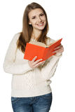 Happy woman holding opened book Stock Image