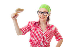 Happy woman holding paint brush Royalty Free Stock Photography