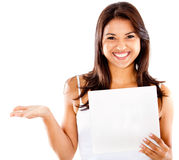 Happy woman holding a paper Royalty Free Stock Images