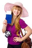Happy woman is holding a passport with ticket Stock Images
