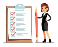 Happy woman holding pencil at giant schedule checklist with tick marks. Business organization and achievements of goals Stock Photo