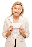 Happy woman holding placard smiling isolated on white background Stock Photo