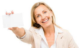Happy woman holding placard smiling isolated on white background Stock Photos
