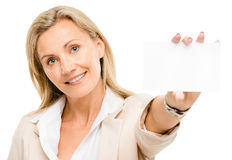 Happy woman holding placard smiling isolated on white background Stock Photography
