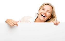 Happy woman holding placard smiling isolated on white background Royalty Free Stock Photos