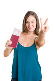 Happy Woman Holding Plain Tickets Royalty Free Stock Photo