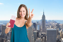 Happy Woman Holding Plain Tickets Royalty Free Stock Image
